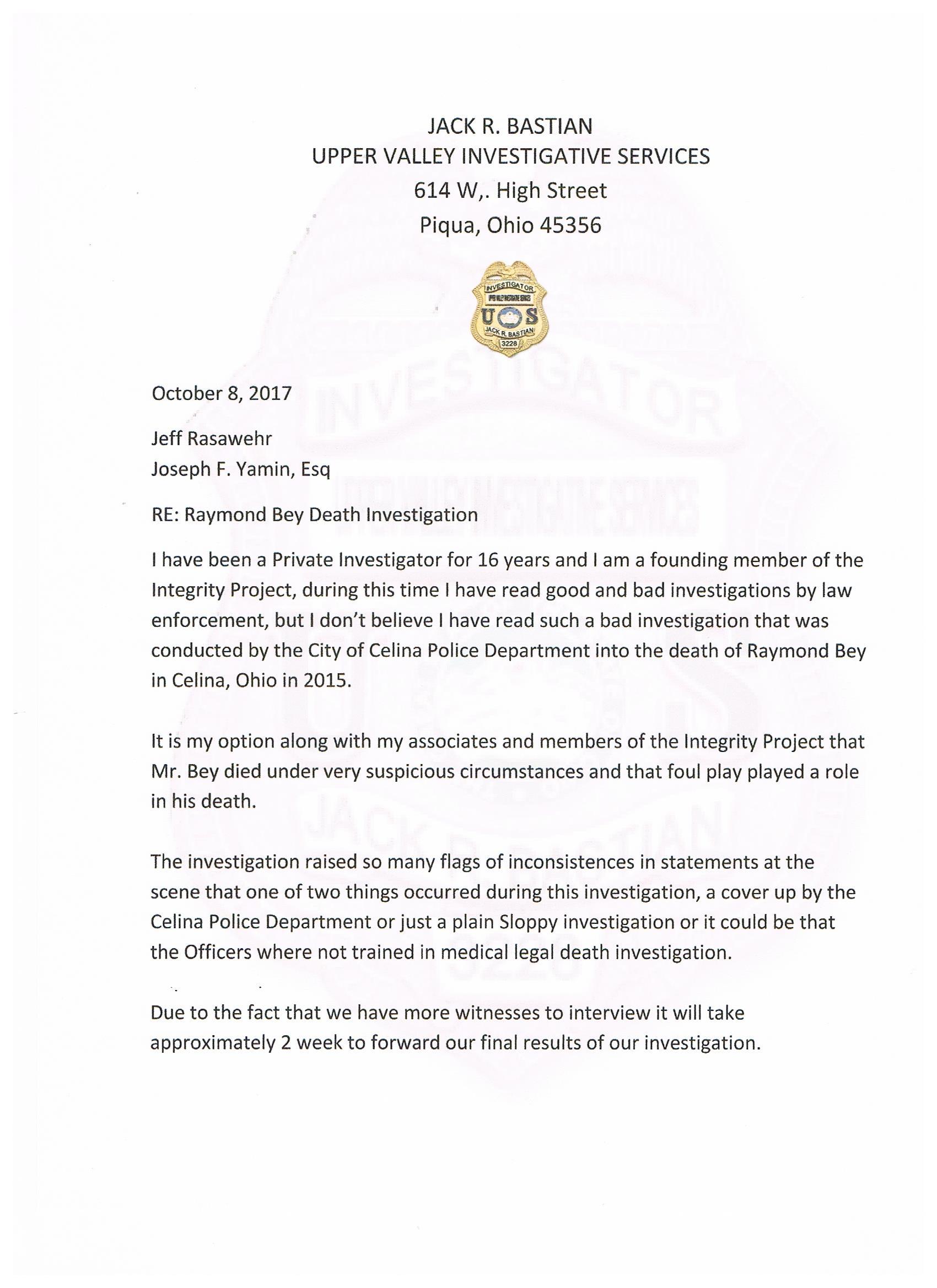 investigator cover letter